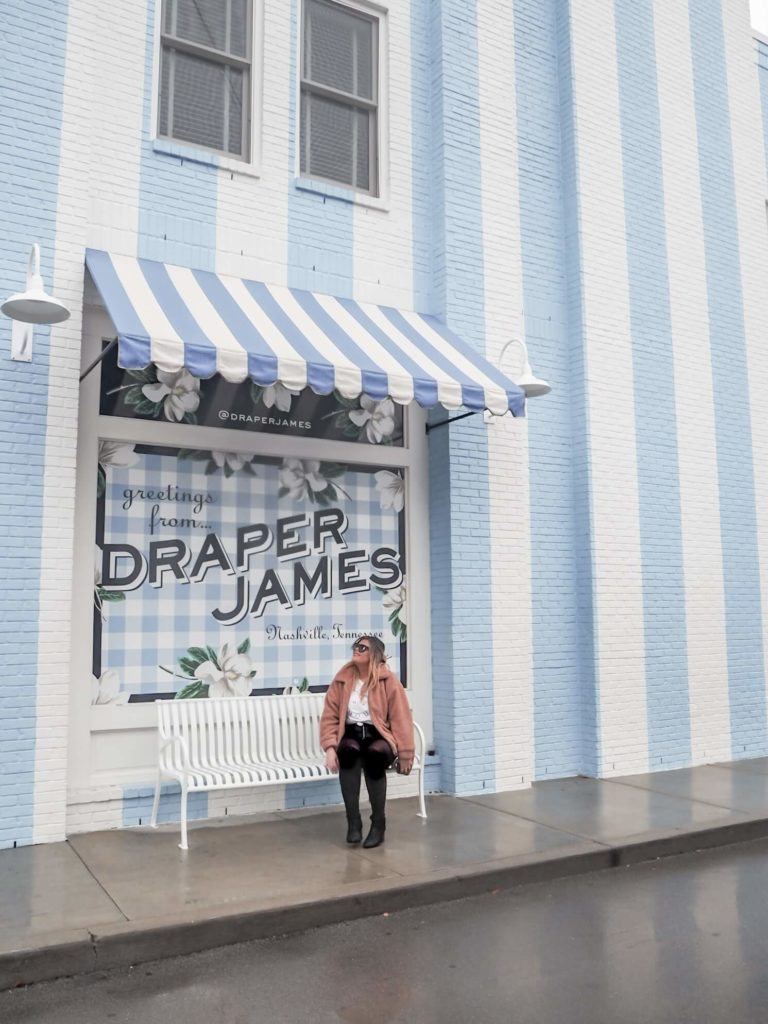 a guide to the best photo spots in Nashville, by My Meraki Travel. Draper James store in 12 South.