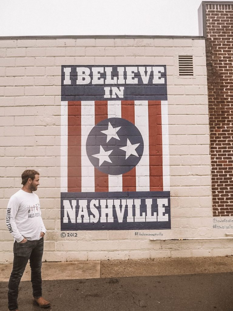 A guide to the best photo spots in Nashville, by My Meraki Travel. I Believe in Nashville Mural